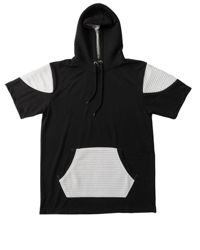 Black and White Short Sleeve Moto Hoody