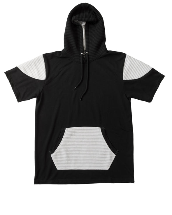 Black and White Short Sleeve Moto Hoody - Brooklyn Xpress