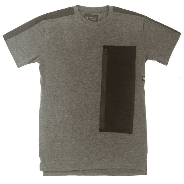 Charcoal Tee Shirt with Mesh Pocket - Brooklyn Xpress