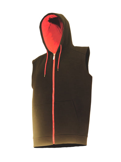 Black and Red Sleeveless Fleece Zip-Up Hoody - Brooklyn Xpress
