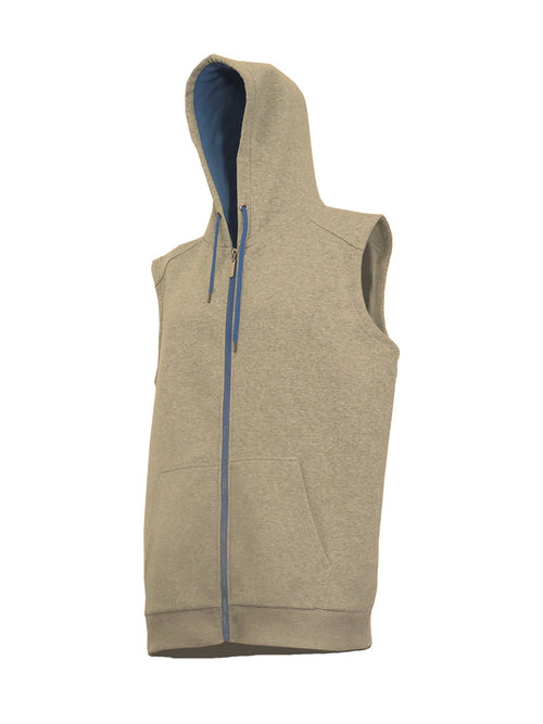 Heather Grey Sleeveless Zip-Up Hoody with Royal Blue Contrast Zipper - Brooklyn Xpress