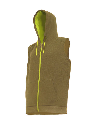 Heather Grey Sleeveless Zip-Up Hoody with Neon Lime Contrast Zipper - Brooklyn Xpress