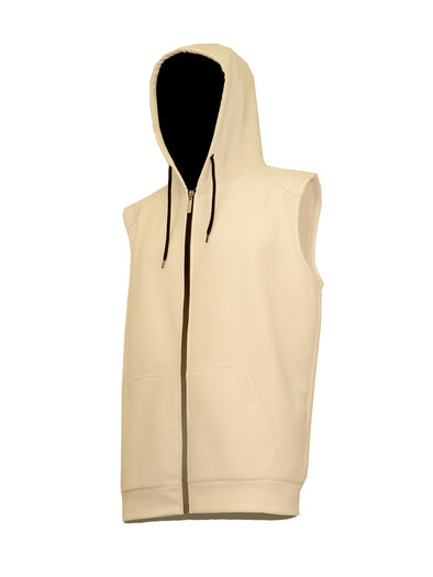White Sleeveless Zip-Up Hoody with Black Contrast Zipper - Brooklyn Xpress