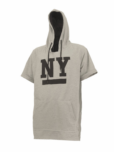 Heather Grey French Terry Short Sleeve Hooded Tee - Brooklyn Xpress