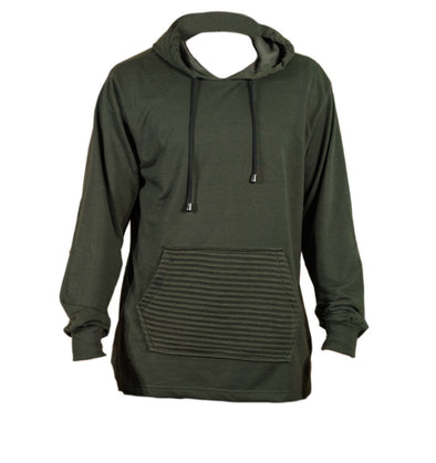 Olive French Terry Longer Back Pull Over Hoody - Brooklyn Xpress