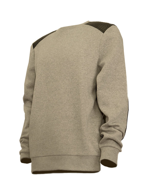Heather Grey Fleece Top with Vegan Leather Quilted Patches - Brooklyn Xpress