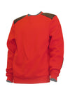 Red Fleece Crew Neck Top with Quilted Vegan Leather Patches - Brooklyn Xpress