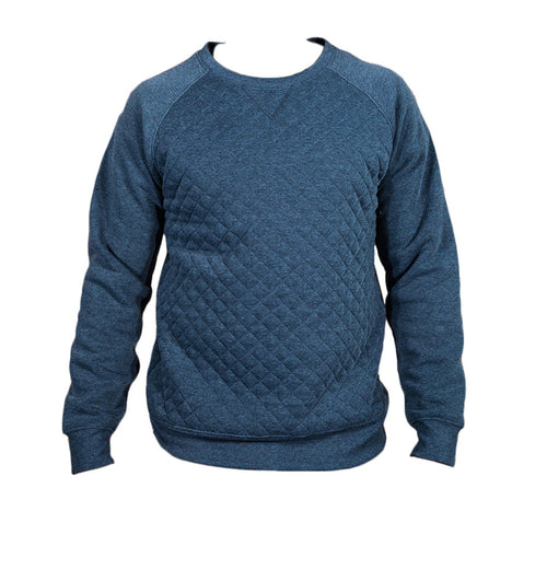 Heather Grey And Charcoal Quilted Fleece Crew - Brooklyn Xpress