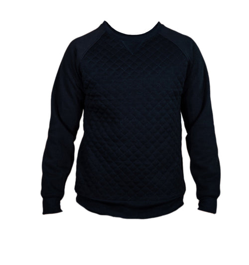 Black Quilted Fleece Crew Neck - Brooklyn Xpress