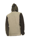 Heather Grey Fleece Hoody with Vegan Leather Hood and Pockets - Brooklyn Xpress