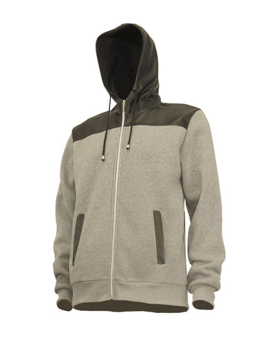 Heather Grey Fleece Zip-Up Hoody with Vegan Leather Hood and Yoke - Brooklyn Xpress