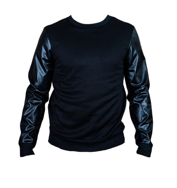 Black Vegan Leather And Fleece Crew Neck - Brooklyn Xpress