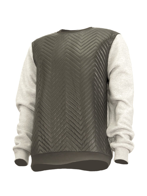 Heather Grey Thermal Fleece with Vegan Leather Herringbone Chest - Brooklyn Xpress