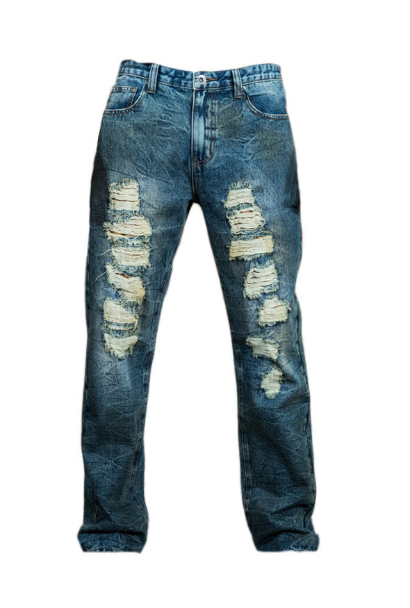 Acid Washed Ripped and Stitch Repaired Jeans - Brooklyn Xpress