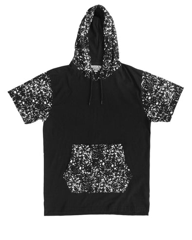 Black Pullover Hoody with Printed Hood and Pockets