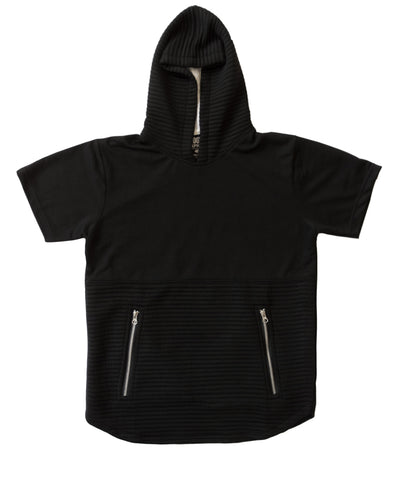 Black Short Sleeve Hoody with Zipper Pockets