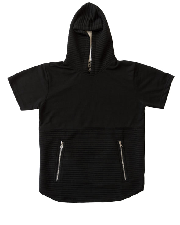 Black Short Sleeve Hoody with Zipper Pockets - Brooklyn Xpress
