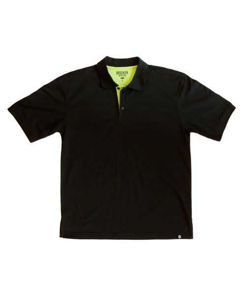 Black Polo Shirt with Lime Contrast