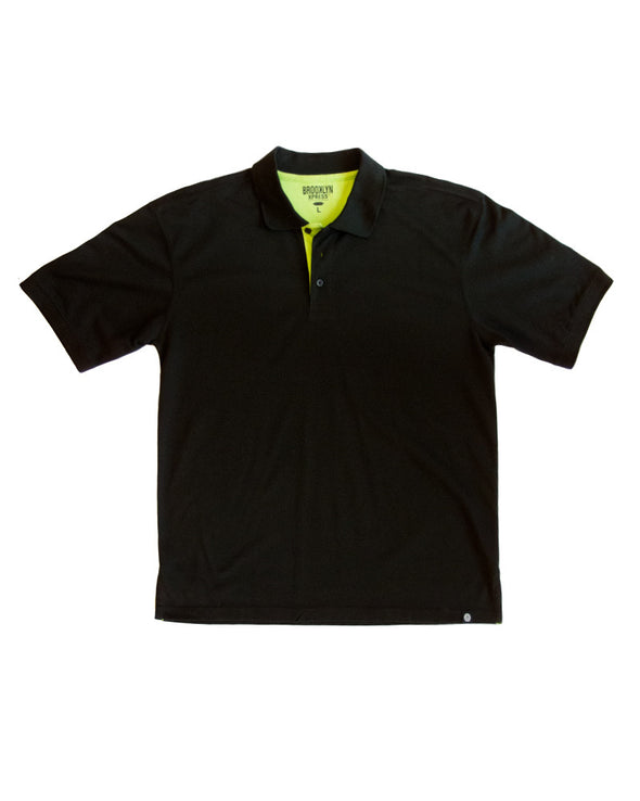 Black Polo Shirt with Lime Contrast - Brooklyn Xpress