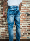 Blue Wash Overdyed Ripped Jeans - Brooklyn Xpress