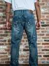 Light Paint Splattered Dark Ripped Jeans with Fabric Backing - Brooklyn Xpress