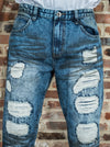 Sand Washed Five Pocket Blue Ripped Jeans - Brooklyn Xpress