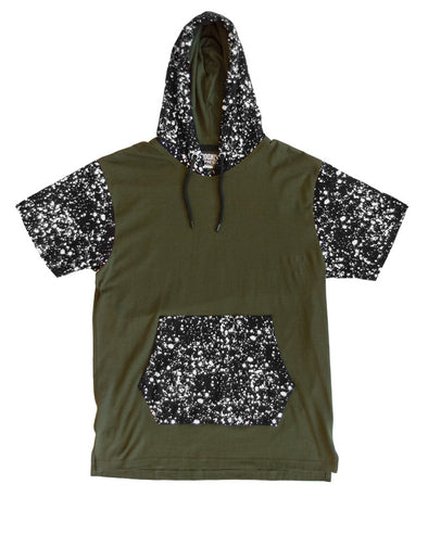 Olive Pullover Hoody with Printed Hood and Pockets
