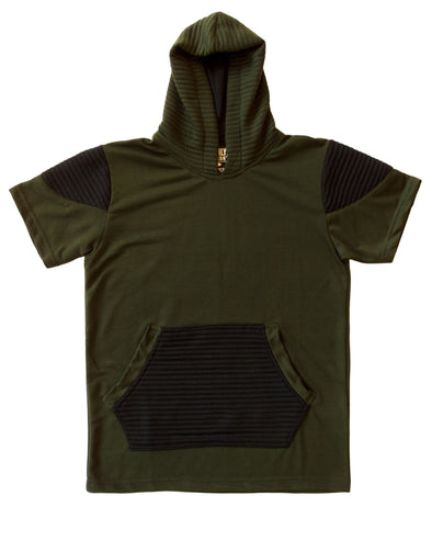 Olive Green and Black Short Sleeve Moto Hoody