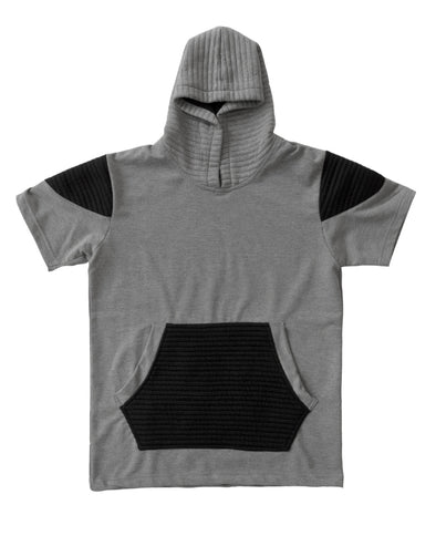 Heather Grey and Black Short Sleeve Moto Hoody