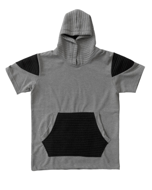 Heather Grey and Black Short Sleeve Moto Hoody - Brooklyn Xpress