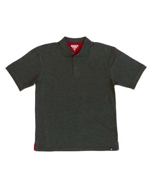 Charcoal Polo Shirt with Red Contrast