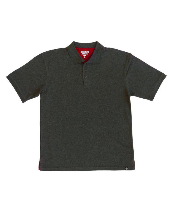 Charcoal Polo Shirt with Red Contrast - Brooklyn Xpress