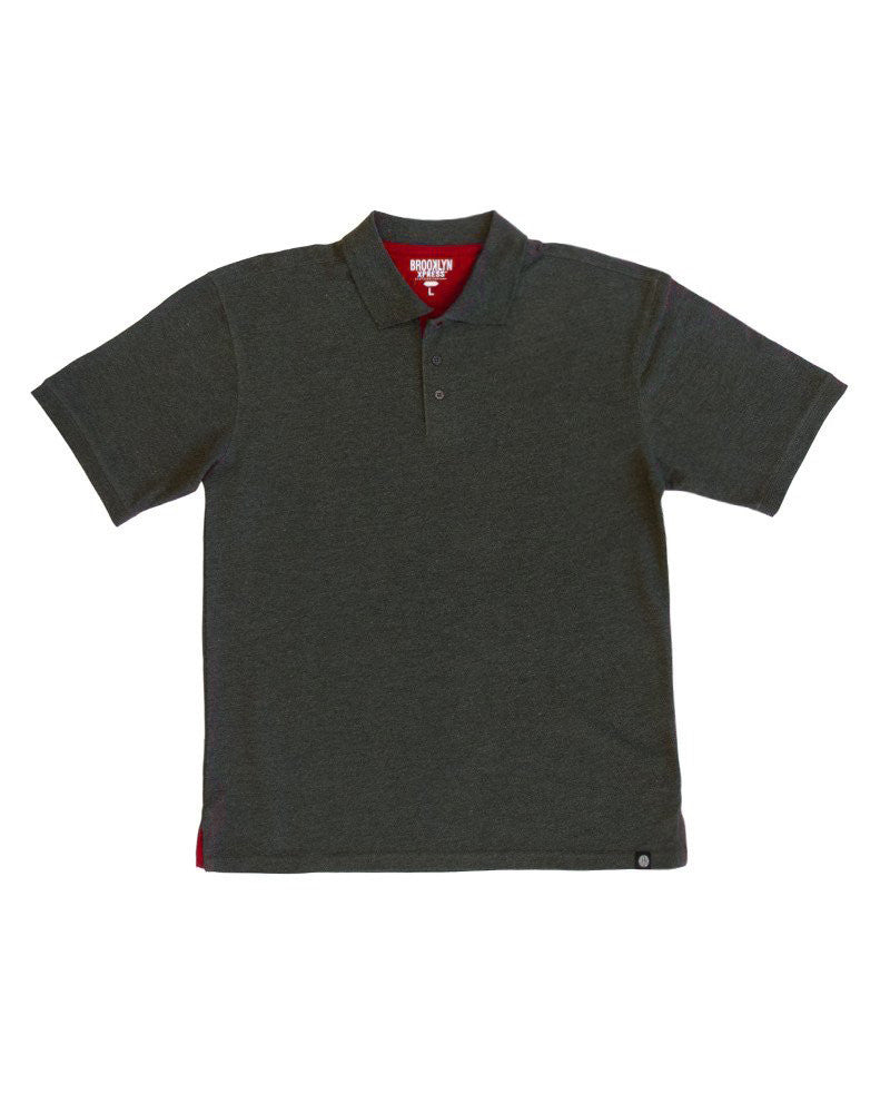 Charcoal Polo Shirt With Red Contrast Brooklyn Xpress