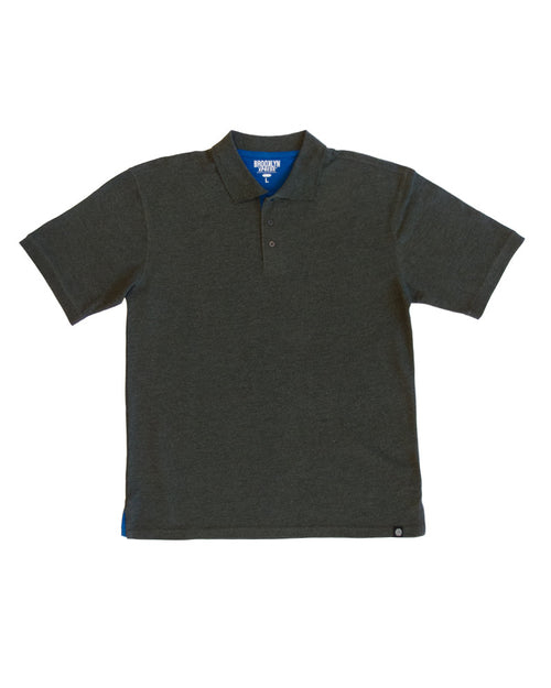 Charcoal Mens Polo with Royal Blue Contrast - Brooklyn Xpress
