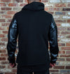 Black Thermal Fleece Hoody with Vegan Leather Sleeves - Brooklyn Xpress