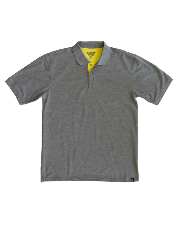 Heather Grey Polo Shirt with Yellow Contrast - Brooklyn Xpress