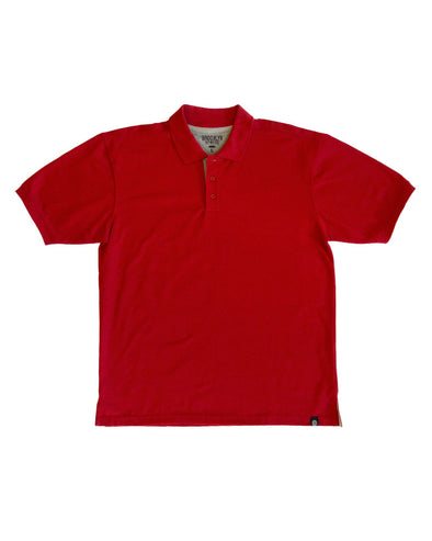 Red Polo Shirt with Heather Grey Contrast
