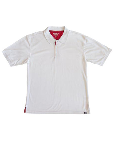 White Polo Shirt with Red Grey Contrast