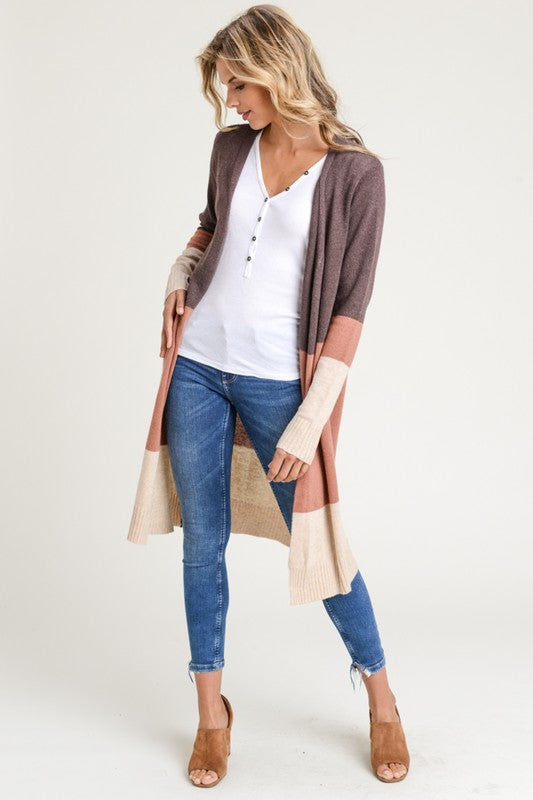 Jacobs Open Front Color block Cardigan