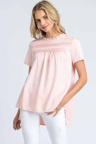 Preston White Top with eyelet sleeve detail