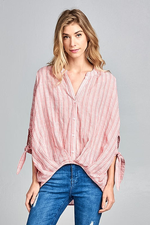 Kelsey Striped Button Down Blouse