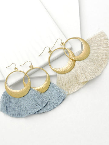 Blush Double Circle Hoop Fringe Earrings