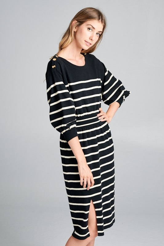 Myers Striped Knit Sweater Dress