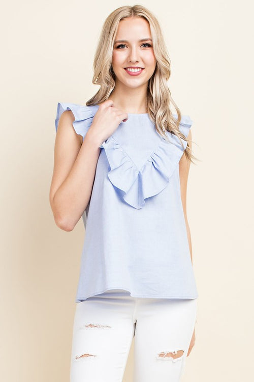 Oscar Sleeveless Ruffle Top