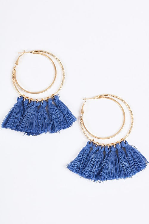 Double Hoop Blue Fringe Earrings