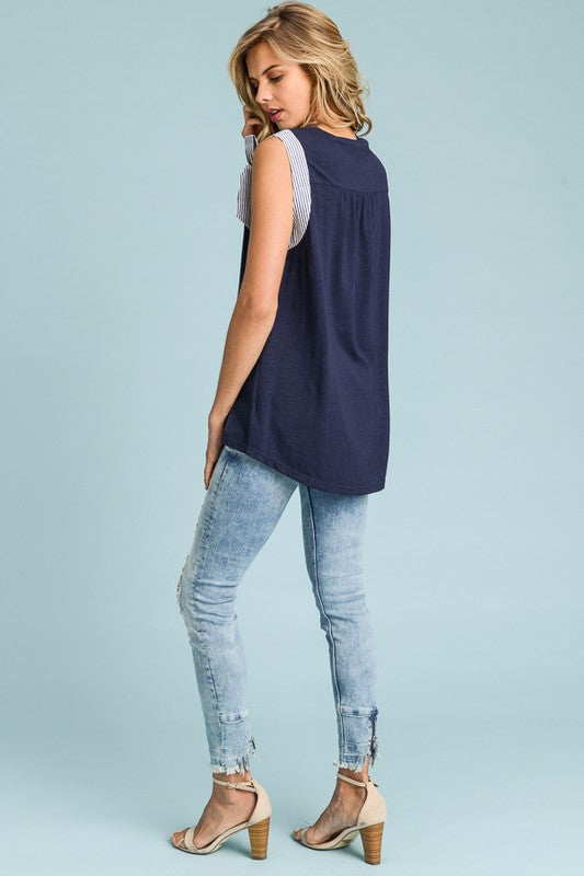Jordan Seersucker Bow Sleeveless Top