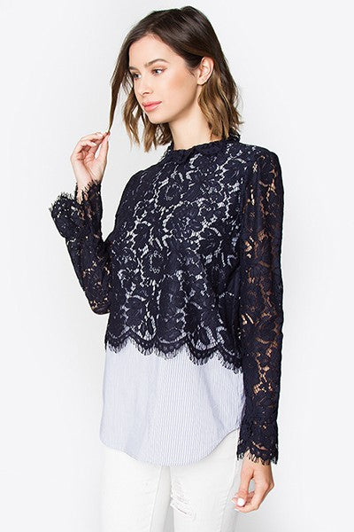 Everly Dark Blue Lace Top