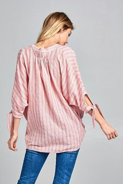 Iris Coral Red Striped Top
