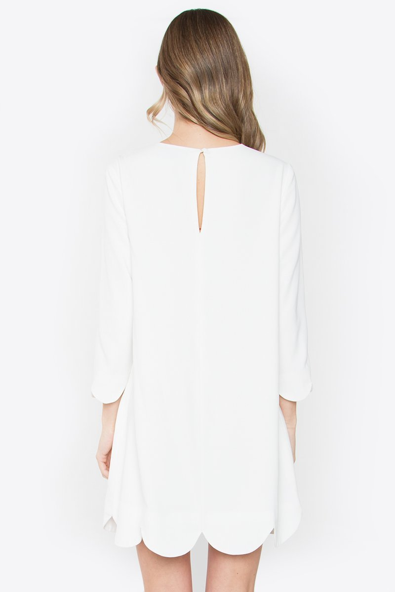 White London Scalloped Hem Dress