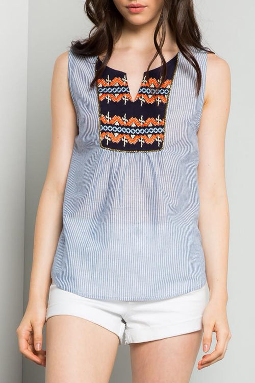 Kennedy THML Light Blue Striped Top